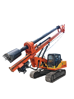 Excavator modified rotary drilling rig